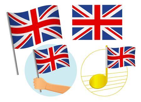 United Kingdom flag icon set. National flag of United Kingdom vector illustration