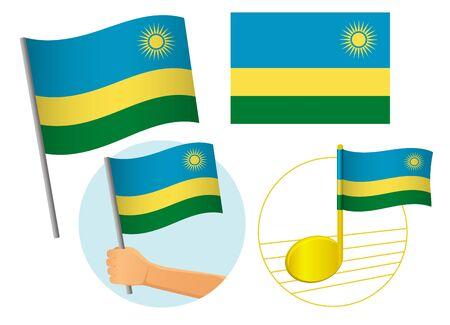 Rwanda flag icon set. National flag of Rwanda vector illustration
