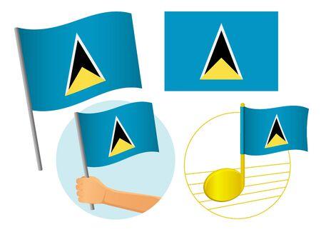 Saint Lucia flag icon set. National flag of Saint Lucia vector illustration Фото со стока - 131826530