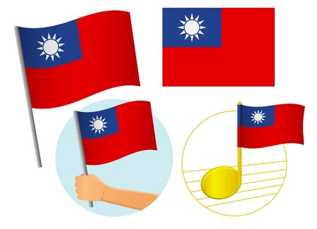 Taiwan flag icon set. National flag of Taiwan vector illustration