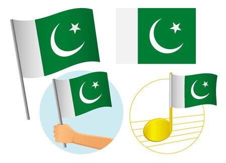 Pakistan flag icon set. National flag of Pakistan vector illustration