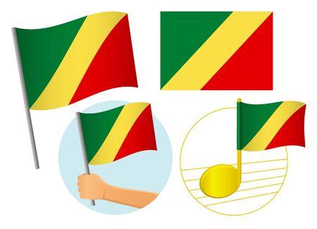 Congo flag icon set. National flag of Congo vector illustration Standard-Bild - 131565870
