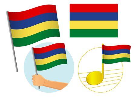 Mauritius flag icon set. National flag of Mauritius vector illustration Illustration