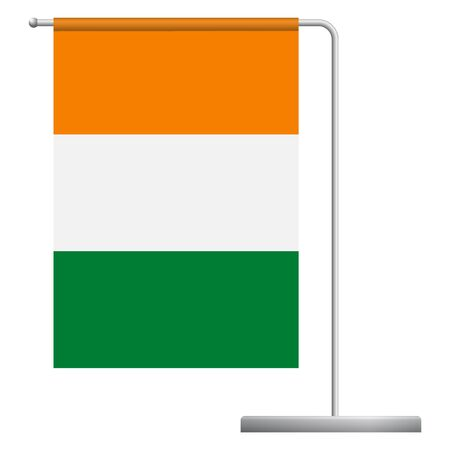 Cote d'ivoire - Ivory Coast table flag. Metal flagpole. National flag of Cote d'ivoire - Ivory Coast vector illustration