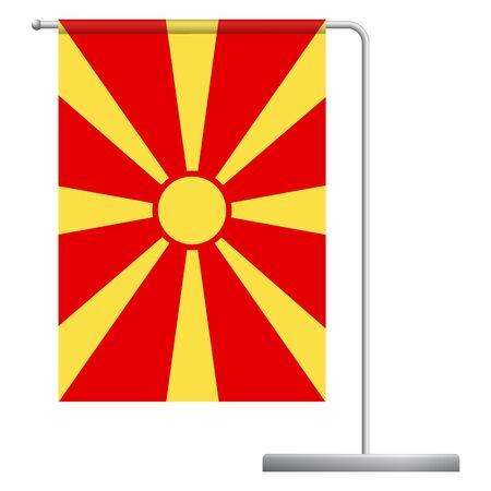 Macedonia table flag. Metal flagpole. National flag of Macedonia vector illustration