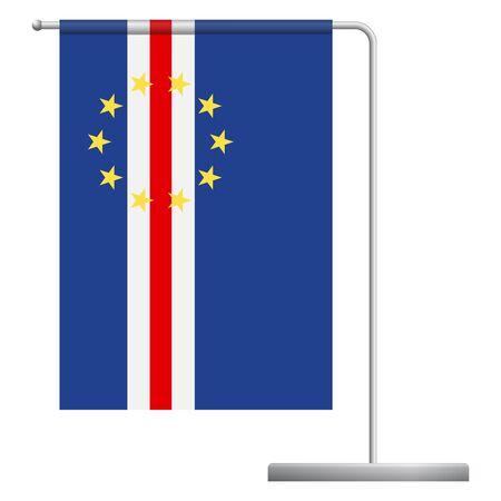 Cape Verde table flag. Metal flagpole. National flag of Cape Verde vector illustration