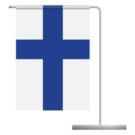 Finland table flag. Metal flagpole. National flag of Finland vector illustration