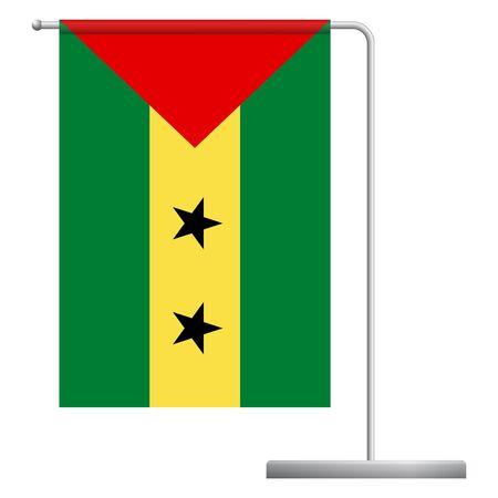 Sao Tome and Principe table flag. Metal flagpole. National flag of Sao Tome and Principe vector illustration