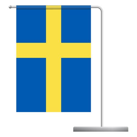 Sweden table flag. Metal flagpole. National flag of Sweden vector illustration