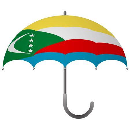 Comoros flag umbrella. Social security concept. National flag of Comoros vector illustration