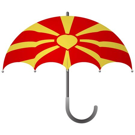 Macedonia flag umbrella. Social security concept. National flag of Macedonia vector illustration Stock Illustratie