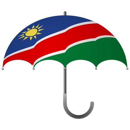 Namibia flag umbrella. Social security concept. National flag of Namibia vector illustration Иллюстрация