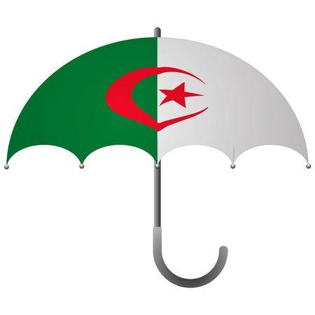 Algeria flag umbrella. Social security concept. National flag of Algeria vector illustration