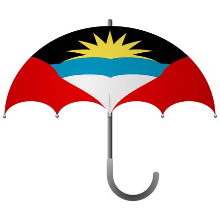 Antigua and Barbuda flag umbrella. Social security concept. National flag of Antigua and Barbuda vector illustration