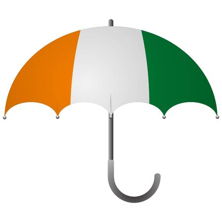 Cote d'ivoire - Ivory Coast flag umbrella. Social security concept. National flag of Cote d'ivoire - Ivory Coast vector illustration