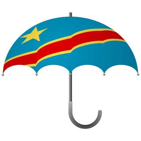 Democratic Republic of the Congo flag umbrella. Social security concept. National flag of Democratic Republic of the Congo vector illustration Illustration