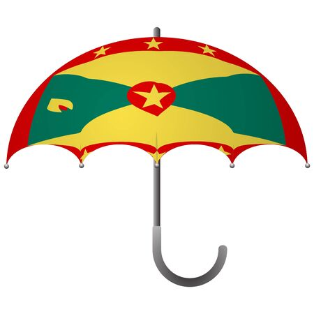 Grenada flag umbrella. Social security concept. National flag of Grenada vector illustration