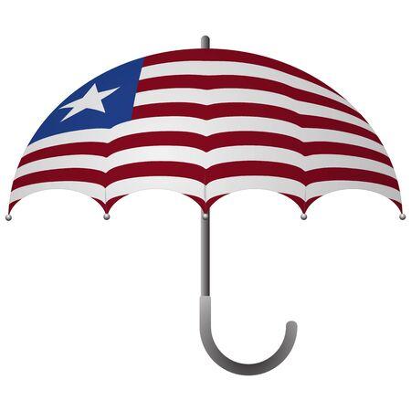 Liberia flag umbrella. Social security concept. National flag of Liberia vector illustration
