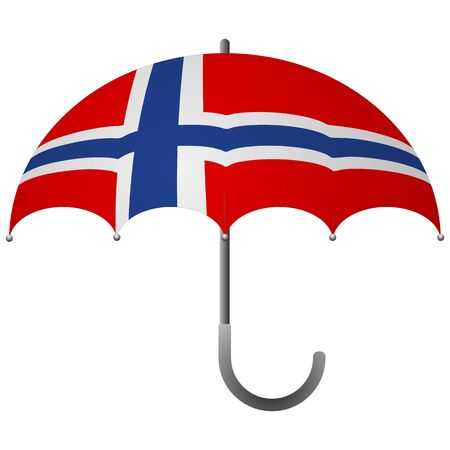 Norway flag umbrella. Social security concept. National flag of Norway vector illustration Иллюстрация