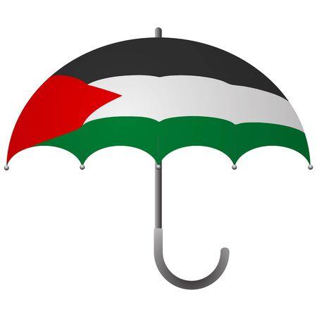 Palestine flag umbrella. Social security concept. National flag of Palestine vector illustration