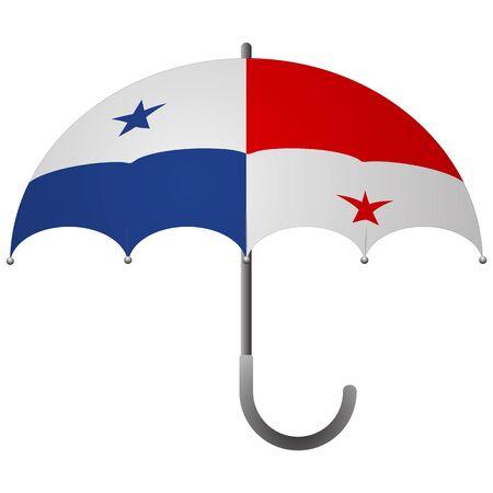Panama flag umbrella. Social security concept. National flag of Panama vector illustration