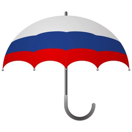 Russia flag umbrella. Social security concept. National flag of Russia vector illustration