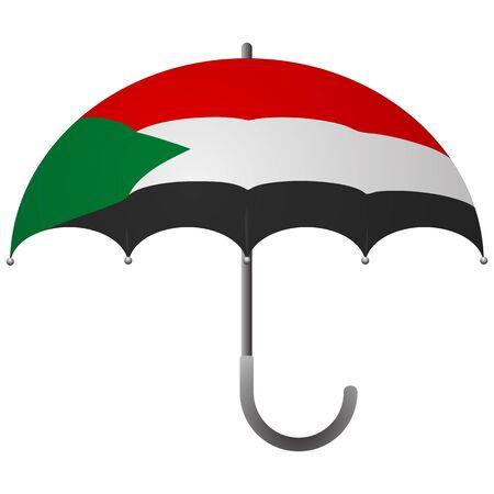 Sudan flag umbrella. Social security concept. National flag of Sudan vector illustration