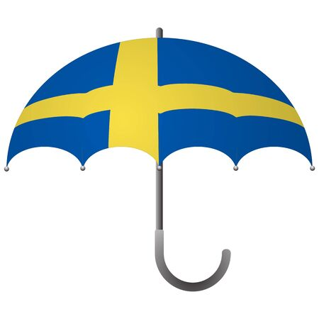 Sweden flag umbrella. Social security concept. National flag of Sweden vector illustration