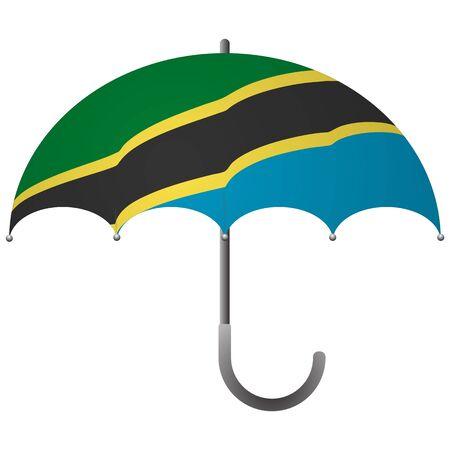 Tanzania flag umbrella. Social security concept. National flag of Tanzania vector illustration Ilustração