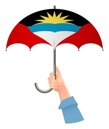 Antigua and Barbuda flag. Hand holding umbrella. Social security concept. National flag of Antigua and Barbuda vector illustration Illustration