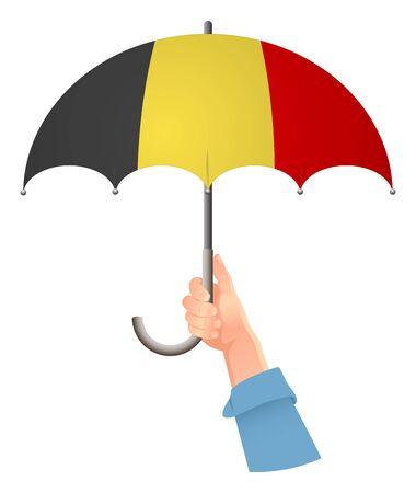 Belgium flag. Hand holding umbrella. Social security concept. National flag of Belgium vector illustration Иллюстрация