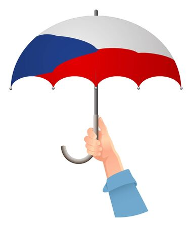 Czech Republic flag. Hand holding umbrella. Social security concept. National flag of Czech Republic vector illustration