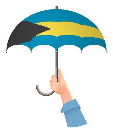 Bahamas flag. Hand holding umbrella. Social security concept. National flag of Bahamas vector illustration