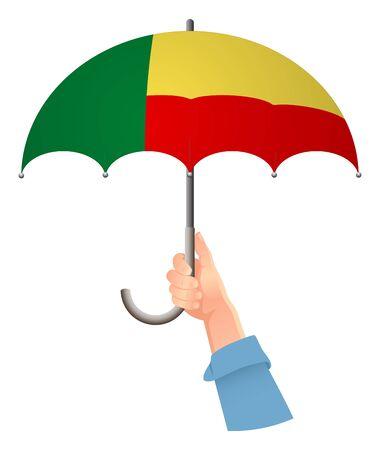Benin flag. Hand holding umbrella. Social security concept. National flag of Benin vector illustration Иллюстрация