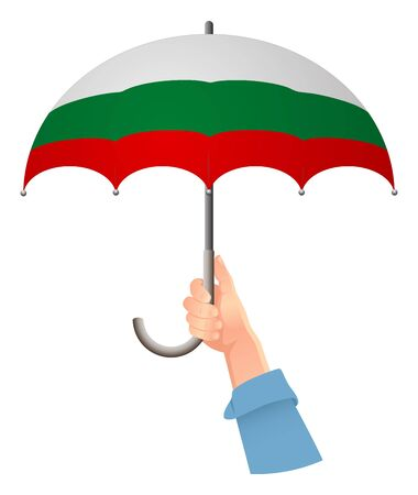 Bulgaria flag. Hand holding umbrella. Social security concept. National flag of Bulgaria vector illustration