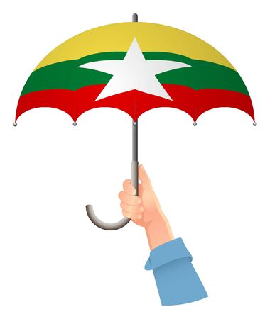 Burma flag. Hand holding umbrella. Social security concept. National flag of Burma vector illustration