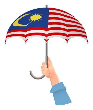 Malaysia flag. Hand holding umbrella. Social security concept. National flag of Malaysia vector illustration