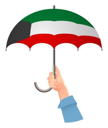 kuwait flag. Hand holding umbrella. Social security concept. National flag of Kuwait vector illustration