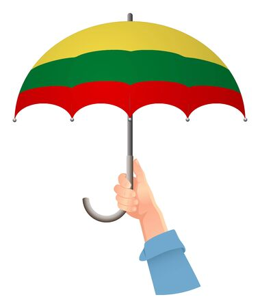 lithuania flag. Hand holding umbrella. Social security concept. National flag of lithuania vector illustration