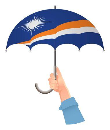 Marshall Islands flag. Hand holding umbrella. Social security concept. National flag of Marshall Islands vector illustration