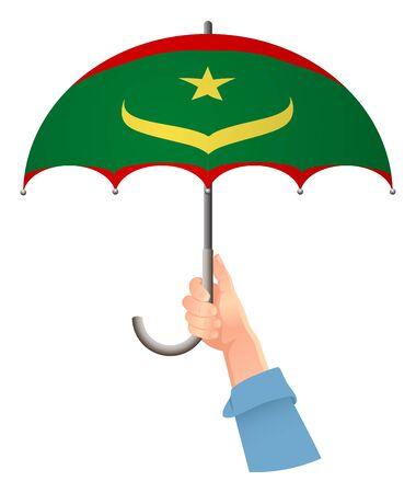 Mauritania flag. Hand holding umbrella. Social security concept. National flag of Mauritania vector illustration