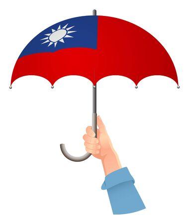 Taiwan flag. Hand holding umbrella. Social security concept. National flag of Taiwan vector illustration