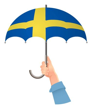 Sweden flag. Hand holding umbrella. Social security concept. National flag of Sweden vector illustration