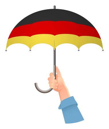 Germany flag. Hand holding umbrella. Social security concept. National flag of Germany vector illustration Иллюстрация