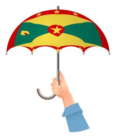 Grenada flag. Hand holding umbrella. Social security concept. National flag of Grenada vector illustration
