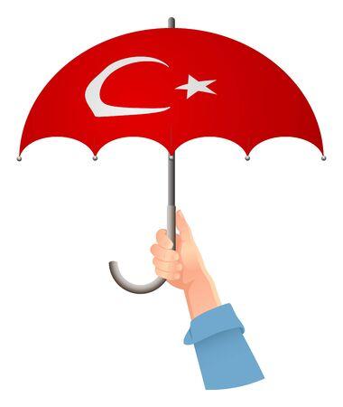 Turkey flag. Hand holding umbrella. Social security concept. National flag of Turkey vector illustration Иллюстрация