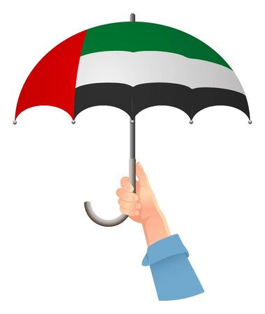 United arab emirates flag. Hand holding umbrella. Social security concept. National flag of United arab vector illustration