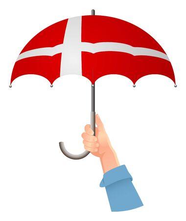 Denmark flag. Hand holding umbrella. Social security concept. National flag of Denmark vector illustration