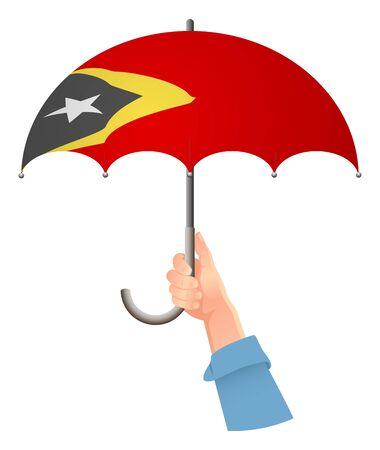 East Timor flag. Hand holding umbrella. Social security concept. National flag of East Timor vector illustration