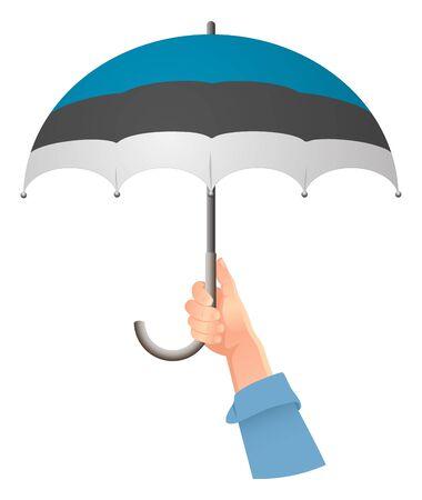 Estonia flag. Hand holding umbrella. Social security concept. National flag of Estonia vector illustration  イラスト・ベクター素材